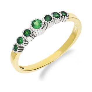Pierścionek złoty z cyrkonią zieloną nr NB 501312 EME próba 333