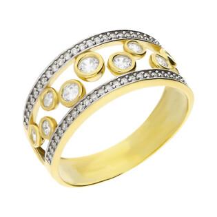 Pierścionek z białymi cyrkoniami obrączkowy nr NB 501297 próba 375