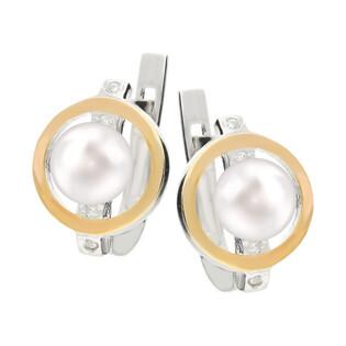 Kolczyki srebrne z perłą, zdobione cyrkoniami + złota blaszka nr DC 318_AU375