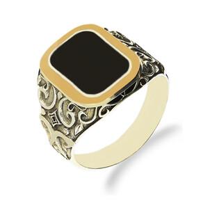 Sygnet srebrny z onyksem zdobiony ornamentem + złota blaszka nr DC 534_AU375