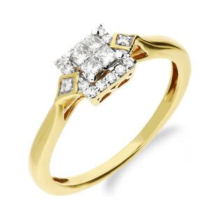 Pierścionek złoty zaręczynowy MIRAGE z diamentami nr 183M próba 585