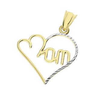 Serduszko złote dwukolorowe serce z napisem Mom nr GS P-YB-PDC152497 próba 375
