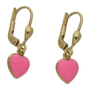 Kolczyki złote serce z różową emalią nr MI200 próba 585