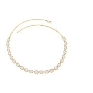 Naszyjnik złoty opal biały owal+cyrkonie nr OS 96-3064 OPL próba 585