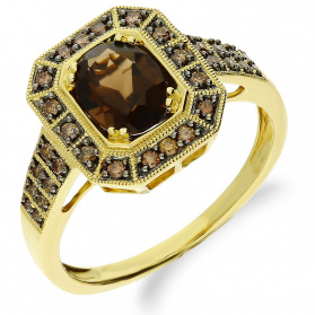 Pierścionek zaręczynowy z diamentami FASHION nr KU 388 próba 585