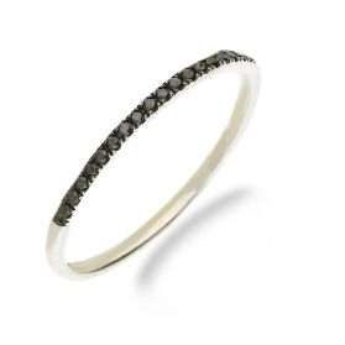 Pierścionek zaręczynowy z czarnymi diamentami nr VE 4115 W1 białe złoto próba 585 RINGS