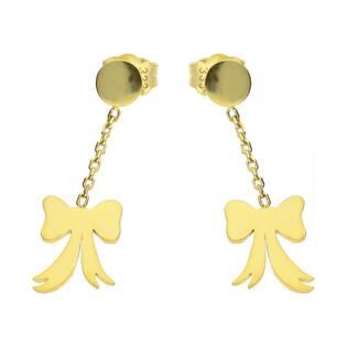 Kolczyki złote kokardki na łańcuszku/ sztyft MZ T23-E-0218-40-LZ próba 333