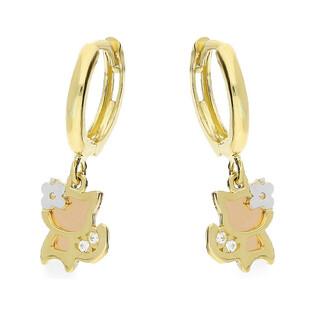 Kolczyki złote kotki z cyrkonią nr AR HALE205994-TC-FCZ próba 585