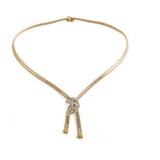 Naszyjnik złoty krawatówka X z cyrkoniami, dwa kolory złota nr FL221 próba 585