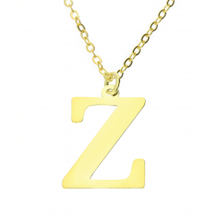 Naszyjnik srebrny pozłacany literka Z nr. AT204-Z GOLD próba 925