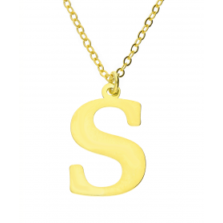 Naszyjnik srebrny pozłacany literka S nr. AT204-S GOLD próba 925