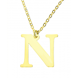 Naszyjnik srebrny pozłacany literka N nr. AT204-N GOLD próba 925