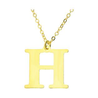 Naszyjnik srebrny pozłacany literka H nr. AT204-H GOLD próba 925