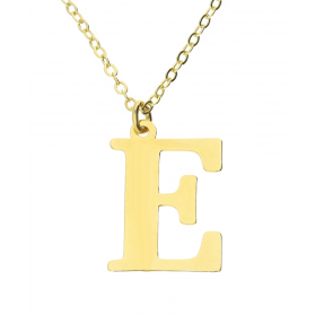 Naszyjnik srebrny pozłacany literka E nr. AT204-E GOLD próba 925