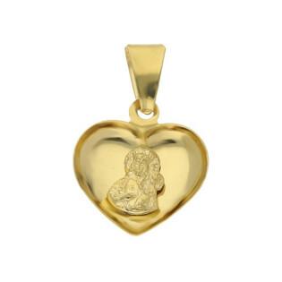 Medalik złoty z wizerunkiem Matki Boskiej Częstochowskiej w sercu nr MV M-1216-OP62-2 próba 585