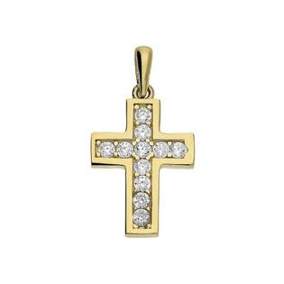 Krzyżyk złoty z cyrkoniami dla dziecka numer MZ P282-CZ Au 585
