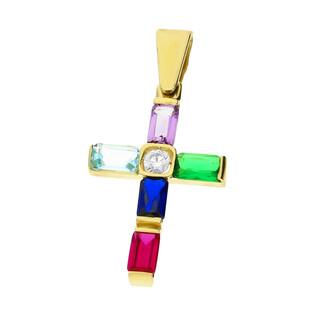 Krzyżyk złoty z kolorowymi cyrkoniami OS 96-0031-MULTI-CR próba 585