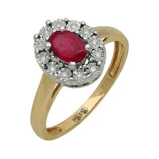 Pierścionek złoty zaręczynowy z rubinem i diamentami RQ 395M-RU Markiza Magic próba 585 MARKIZA