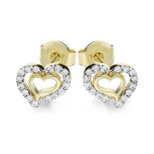 Kolczyki złote serca z cyrkoniami nr MZ T5-ES-79-CZ próba 585