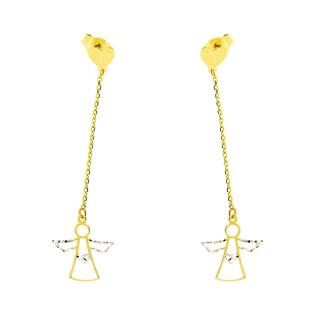 Kolczyki złote anioł ramka na łańcuszku nr S3 MLE-1043 próba 375