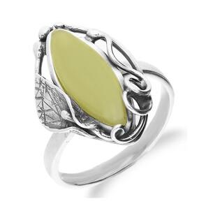 Pierścionek srebrny z bursztynem mlecznym nr AC 041 Sezam - 1