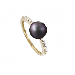 Pierścionek z czarną perłą i cyrkoniami OS 96-0558-BL próba 585