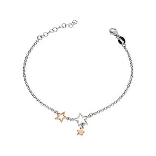 Bransoleta gwiazdki srebrna i różowa NI637 próba 925