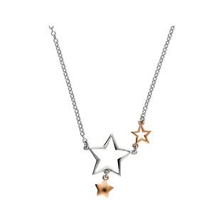 Naszyjnik gwiazdki srebrna i różowa NI637 próba 925
