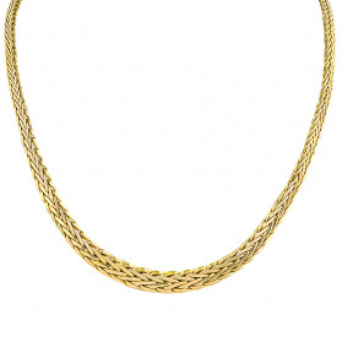 Naszyjnik złoty taśma jodełka poszerzana PY AFT0048 próba 375