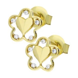 Kolczyki złote serce blask w kwiatku z cyrkoniami MZ T5-ES-990-CZ-ST próba 375