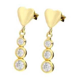 Kolczyki złote serce z wiszącymi cyrkoniami MZ T5-E-0218-126-CZ próba 375