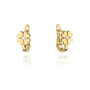 Kolczyki złote dla dziecka kwiatek z serc z brylantem BE KO-60 próba 585