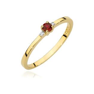 Pierścionek złoty z rubinem i diamentami BE BC-025 próba 585