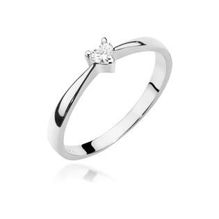 Pierścionek zaręczynowy z sercem z diamentu białe złoto BE próba 585
