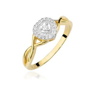 Pierścionek złoty SERCE z diamentów BE W-458 próba 585