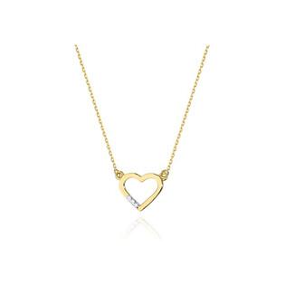 Naszyjnik złoty serce ramka z diamentami BE C-26 próba 585