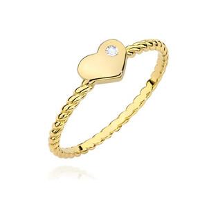 Pierścionek zaręczynowy serca z diamentem BC-037 próba 585