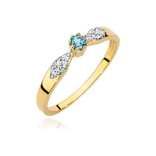 Pierścionek zaręczynowy z topazem i diamentami BE BC-013 próba 585