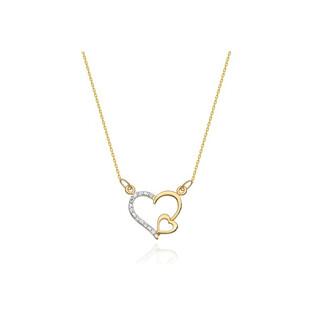 Naszyjnik złoty serce w sercu z diamentami BE C-3 próba 585
