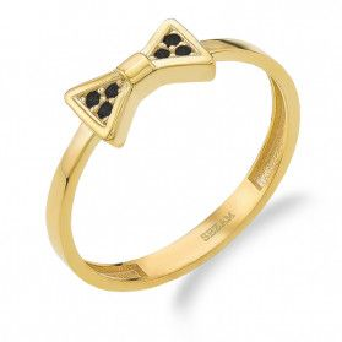 Pierścionek złoty RINGS kokarda z czarnymi cyrkoniami PY YYZ0525 próba 375