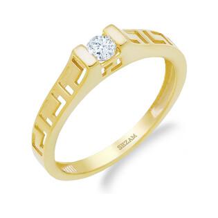 Pierścionek złoty cyrkonia w uszkach szyna ażurowa PY RING5040 próba 375