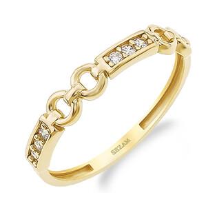 Pierścionek złoty RINGS prostokąty z cyrkoniami i puste kółka PY YYZ1164 próba 375