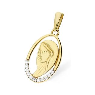 Medalik złoty z wizerunkiem Matki Boskiej nr MZ T23-P-1255-YW-CZ próba 375 Sezam - 1