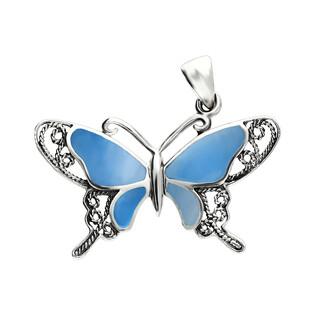 Zawieszka motyl ażur bokiem z niebieską masą perłową NI XX24 N próba 925