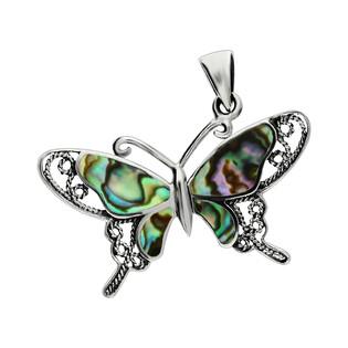 Zawieszka motyl ażur bokiem z zieloną masą perłową NI XX24 Z próba 925
