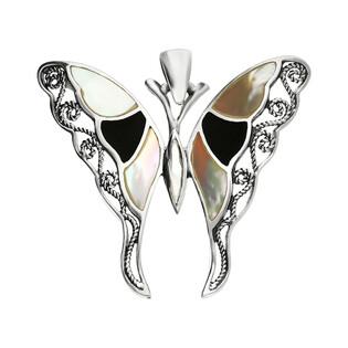 Zawieszka motyl ażur z białą masą perłową i czarną emalią NI XX23 B-CZ próba 925