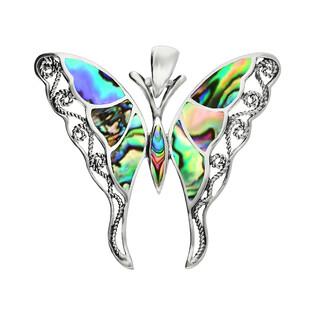 Zawieszka motyl ażur z zieloną masą perłową NI XX23 Z próba 925