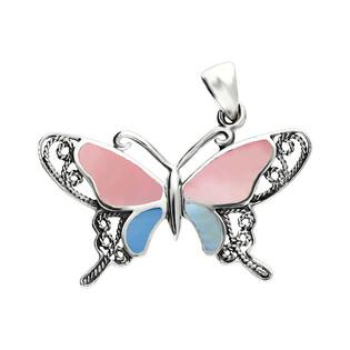 Zawieszka motyl ażur bokiem z różową i niebieską masą perłową NI XX24 R-N próba 925