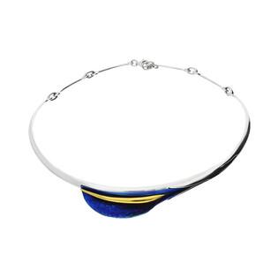 Naszyjnik tytanowy liść boczny niebieski OR E-NM kalia boczna próba 925