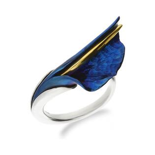 Pierścionek tytanowy falowany liść boczny niebieski U OR F-RS kalia boczna fala próba 925
